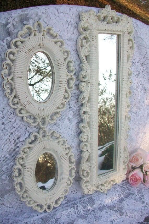Espejos shabby chic decoraci n espejos vintage blancos crema for Espejos decorativos blancos