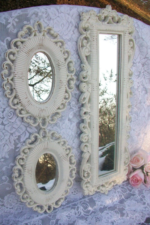 Espejos shabby chic decoraci n espejos vintage blancos crema for Espejo redondo vintage