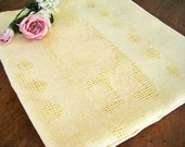 "1930's Vintage Tablecloth, Belgium Linen, Yellow, Ornate Mosiac Lace Drawnwork, 52"" x 50"""