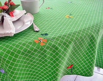 """1970's Vintage Tablecloth, Green, White Windowpane Print, Spring Flowers, Vivid Colors. 52.5"""" x 52.5"""""""