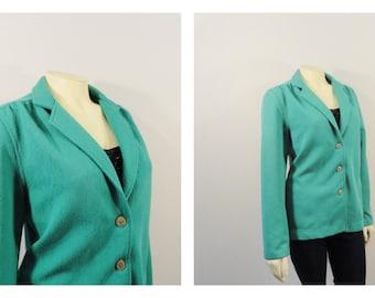 Vintage Blazer 60s Mad Med Era Textured Jacket Green Teal sz 10 Modern Medium