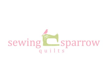 Custom Logo Designs Premade Logo Design and Watermark for Photographers and Small Crafty Boutiques Sewing Machine with Bird Shabby Chic