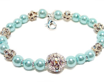 Blue Ice Pearl Beaded Bracelet with Crystal Dragonball Beads