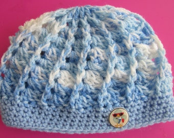 Crochet baby beanie with bird button for NB to 6 mos.