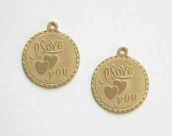 Raw Brass I Love You Charm, Bracelet Charm, Stamping 20m x 22mm - 2 pcs. (r275)
