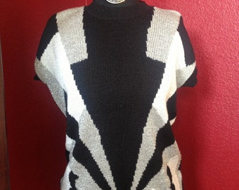 PRICE REDUCTION Vintage Counterparts geometric print sweater blouse, black, white and silver