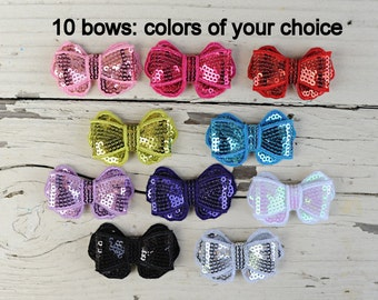 Sequin Bows - New Style Sequin Bows - Fancy Sequin Bows - Wholesale Sequin Bows - Set of 10 - 2 Inch Sequin Bows For Headbands and Clips