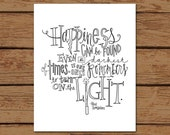 """Harry Potter Albus Dumbledore Quote Print- """"Happiness can be found even in the darkest of times, if one only remembers to turn on the light"""""""