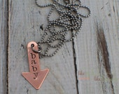 Hand Stamped Necklace - Copper Baby Arrow Necklace - Pointing to Expecting Baby Valentine's Day