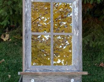 CUSTOM MADE -- Barnwood Framed Mirror with 4 panes shelf and hooks