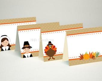 Thanksgiving Place Cards - Pilgrims and Turkey- DIY Printable Digital File