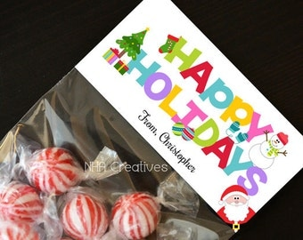 Personalized Happy Holidays Treat Bag Topper - DIY Printable Digital File