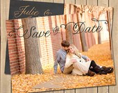 Save The Date Card, 5x7, Printable Save The Date, Chalkboard Inspired, Custom Colors, Photo and Wording