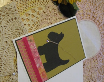 Pink Rose Scotty Dog Silhouette Card