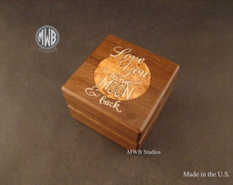 Love You to The Moon and Back inlaid ring box.  Free engraving and shipping.  RB68