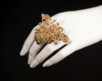 Queen Bee Ring Made with Light Peach Swarovski Crystals and Gold Plated  with adjustable band
