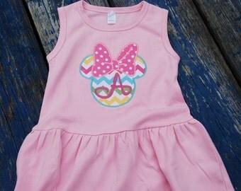 Chevron Minnie Mouse Monogrammed Monag Dress