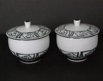 Pair of Porcelain Rice/Soup/Noodle Bowls with Lids, Hand-Painted
