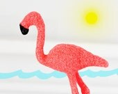 American Flamingo Glitter Critter Tropical Nursery Decor or Jungle Baby Shower Decorations in Bright Coral Glitter for Wedding Cake Topper
