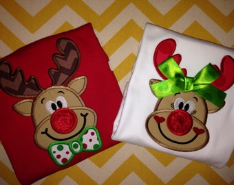 Christmas Delivery - Sibling Set Reindeer Shirts - WHITE or RED Christmas Shirts - Rudolph Shirt