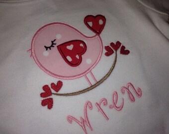 Girl Monogram Shirt - Sweet Bird Applique Shirt