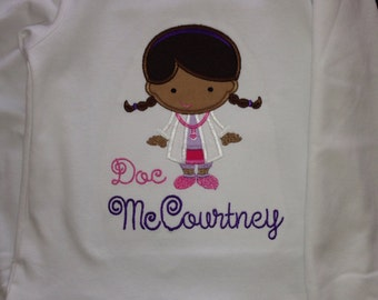 Cutie Doc applique shirt for girls - Inspired by Doc McStuffins