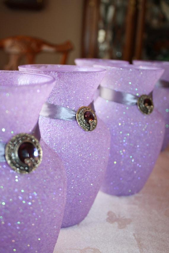 Wedding centerpiece lavender glittered vase