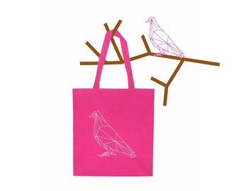 Geometric Parisian Pigeon Tote Bag - French Pigeon Bag -  White and Neon Pink