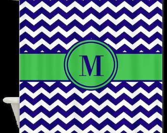 Blue Green Chevron Monogram Fabric Shower Curtain
