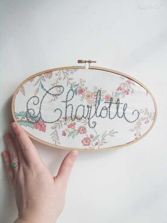 Personalized Vintage Floral Name Sign Embroidery Hoop Nursery
