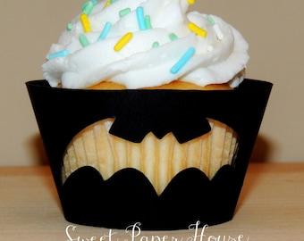 24 Batman Cupcake Wrappers - Blue, Yellow, Black (Boy, Girl, Baby Shower, Birthday Party, Super Hero Party, Superhero, Theme, Classroom)