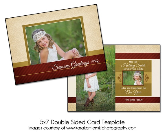 Christmas card template holiday spirit 5x7 double sided for 5x7 postcard mailing template