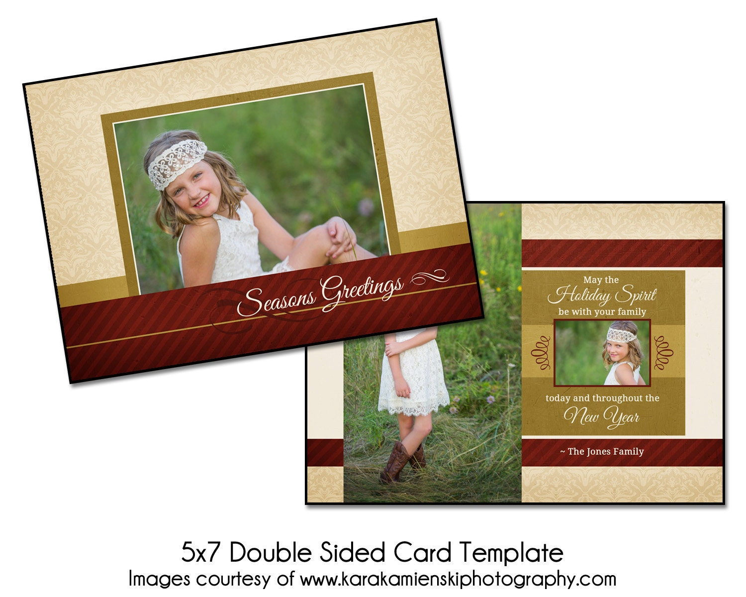 christmas card template holiday spirit 5x7 double sided. Black Bedroom Furniture Sets. Home Design Ideas
