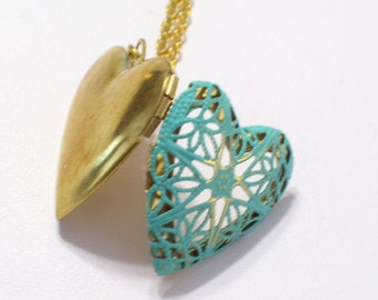 Aqua Brass Heart Locket, Turquoise Patina Locket Necklace, Gold Plated Chain