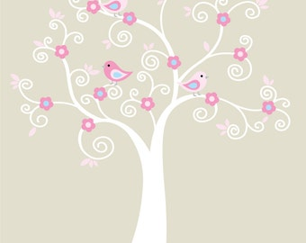 Wall decals- Modern tree decal- Vinyl wall tree- Nursery tree decal- Swirl tree
