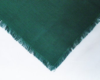 Table linens: 2 unique vintage linen napkins, dark green fringed, for country decor or shabby chic kitchens