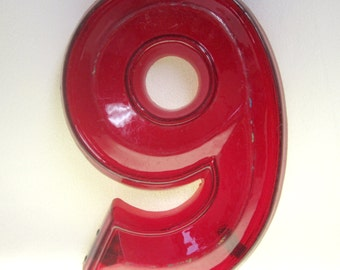Vintage Translucent Red Plastic Marquee Number 9 Wall Hanging 10 1/2 inch tall by 7 inch wide