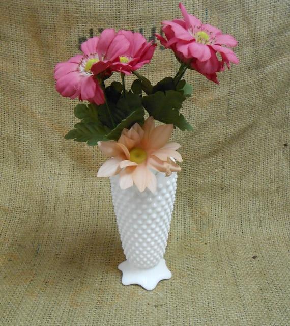 Vintage White Milk Glass Hobnail Flower Vase By