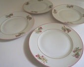 Set of 4 Hand Painted Bread and Butter Plates Dessert Plates with Pink Flowers - Floyd Jones Vintage