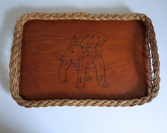 Large Handmade Wooden Serving Tray with Hand Painted Puppy Dog in the Center - Floyd Jones Vintage