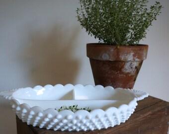 White Milk Glass Hobnail Dish
