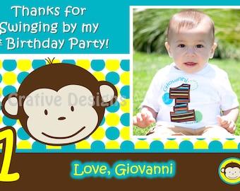 Mod Monkey thank you Mod Monkey Boy thank you Photo 1st Birthday Party Boy pictures thank you 1 year old birthday boy thank you card monkey