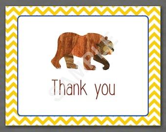 Eric Carle Brown Bear, Brown Bear Thank You Note--Custom Printable