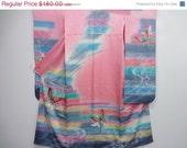 50% off Vintage Silk Kimono Fancy Furisode Dyed Butterfly