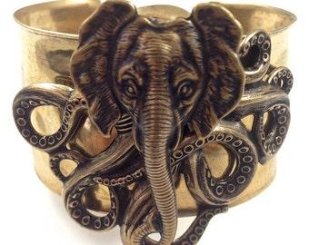 "Steampunk ""Octophant"" Octopus Elephant Cuff Bracelet, Hammered Vintage Brass"