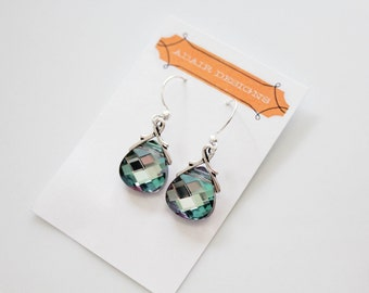 Vitrail Light Swarovski Crystal briolette pendant earrings, 6012 15mm size, spring jewelry for women, wedding, prom, bridesmaid earrings