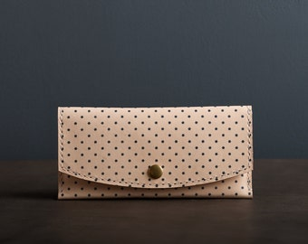 Navy Dot Leather Women's Wallet