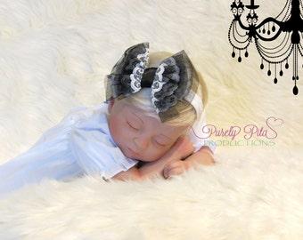 Rizzo Bow - Black Tulle Headband. Baby Headband, Black Bow headband, Newborn headband, baby bows. Black Bow Sashes. Photography Prop