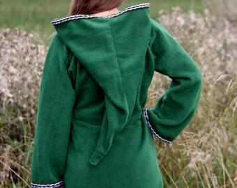Legend of zelda cosplay costume Green Elven tunic - Medieval tunic - hyrule - Pixie hoodie - Psy hoodie - festival tunic - Halloween