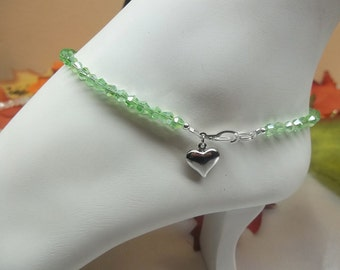 Crystal Peridot Anklet Mint Green Anklet Green Crystal Anklet Heart Anklet Summer Jewelry Beach Jewelry 925 Sterling Silver BuyAny3+Get1Free